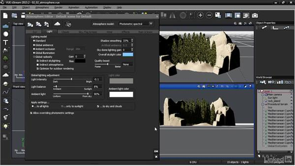 Editing atmosphere parameters: VUE: Animating a Landscape