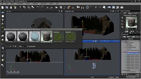 Managing materials: VUE: Animating a Landscape