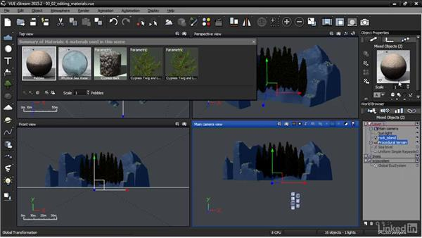 Editing materials: VUE: Animating a Landscape