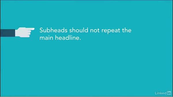 How to use subheads: Writing Headlines
