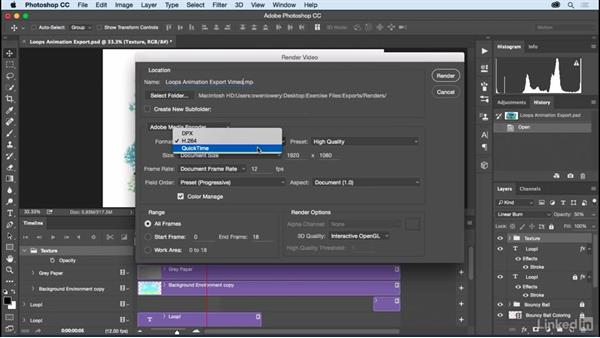 Rendering as video with Adobe Media Encoder: Motion Graphics Loops 01: Photoshop Techniques