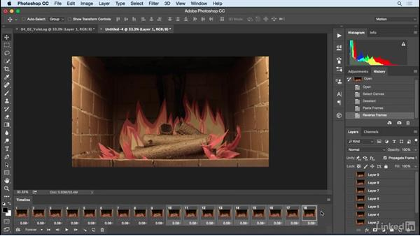 Importing video clips for an animated GIF (yule log): Motion Graphics Loops 01: Photoshop Techniques