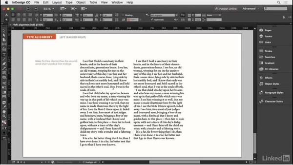 Left-aligned type: InDesign Typography Part 2