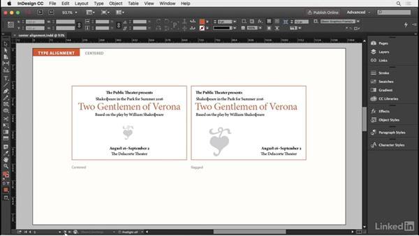 Centered type: InDesign Typography Part 2