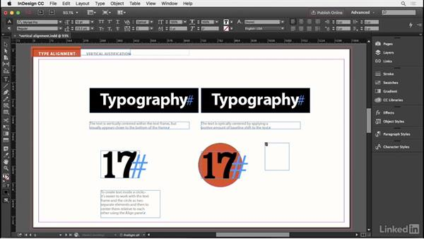 Vertical alignment options: InDesign Typography Part 2