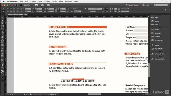 Paragraph rules and shaded paragraphs: InDesign Typography Part 2