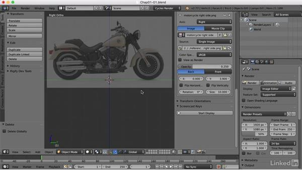 Importing a background image: Blender: Model a Motorcycle