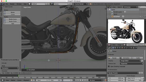 Creating a path for the frame: Blender: Model a Motorcycle