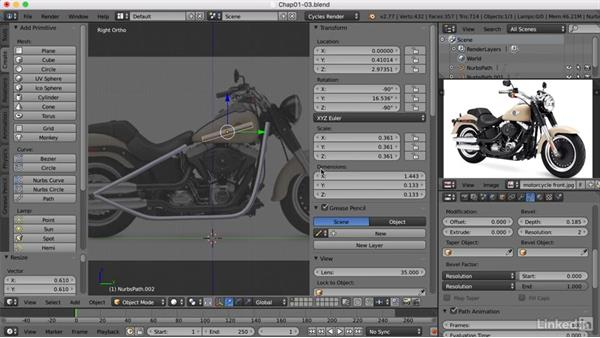 Converting a path to polygons: Blender: Model a Motorcycle