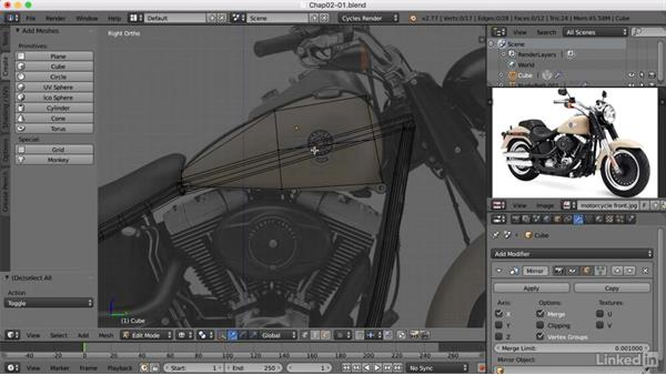 Modeling the gas tank: Blender: Model a Motorcycle