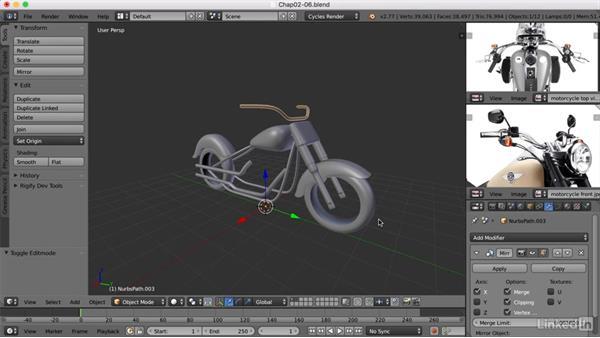 Adding the handlebars: Blender: Model a Motorcycle