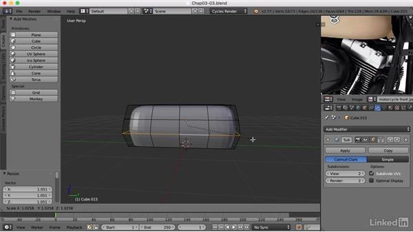 Adding rocker covers: Blender: Model a Motorcycle