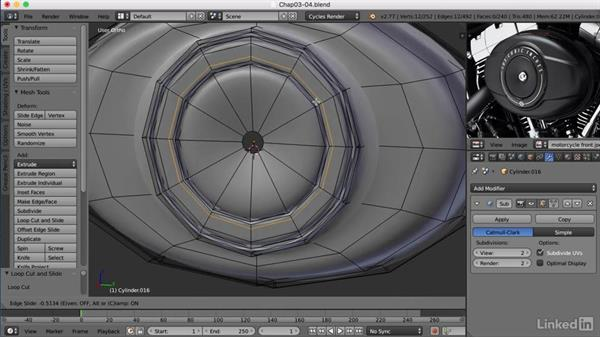 Modeling the air filter: Blender: Model a Motorcycle