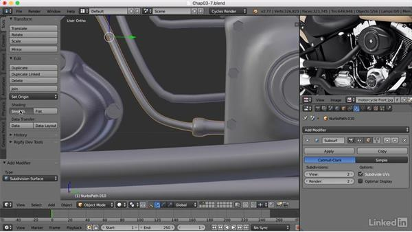 Finishing the exhaust pipes and adding tubes: Blender: Model a Motorcycle
