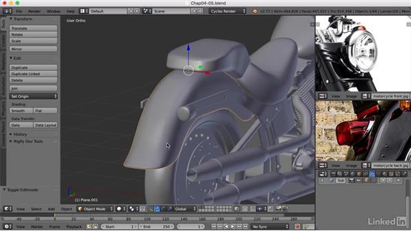 Adding the lights: Blender: Model a Motorcycle