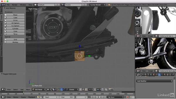 Creating the foot rest and switch: Blender: Model a Motorcycle