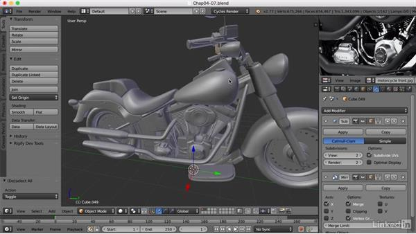 Finishing the modeling: Blender: Model a Motorcycle