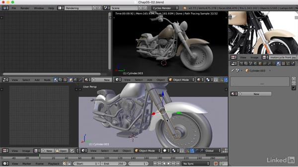 Adding materials to the bike: Blender: Model a Motorcycle
