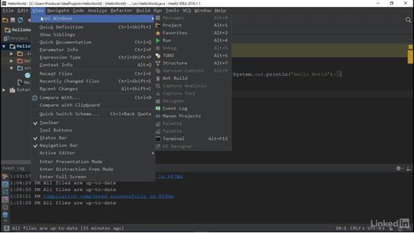 Menu navigation: Overview of IDEs for Java