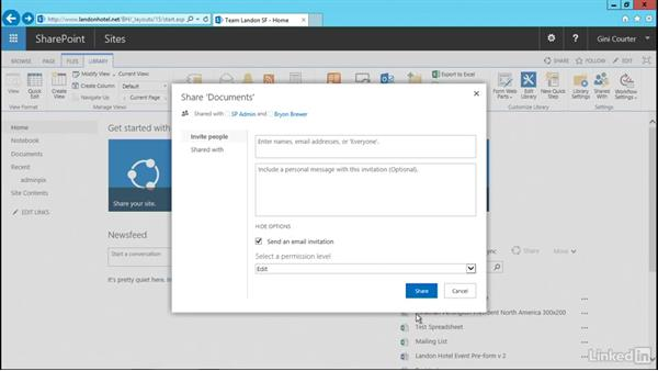 Share a file, library, or site: SharePoint 2016 Essential Training