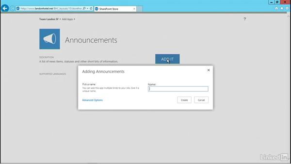 Add a built-in app to your site: SharePoint 2016 Essential Training