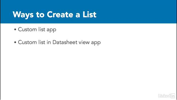 Other ways to create lists: SharePoint 2016 Essential Training