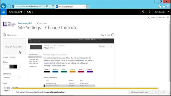 Apply a logo and theme: SharePoint 2016 Essential Training
