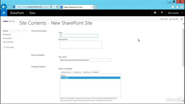Use your custom template: SharePoint 2016 Essential Training