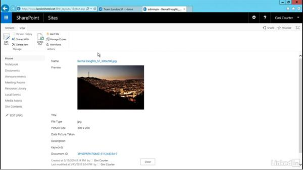 Show an image on a page: SharePoint 2016 Essential Training