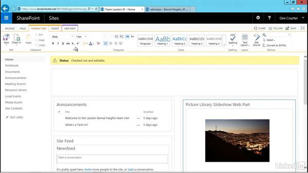 Display images in a slide show: SharePoint 2016 Essential Training