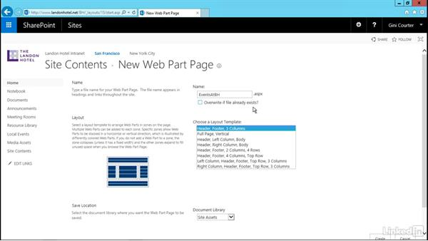 Create a Web Part page: SharePoint 2016 Essential Training