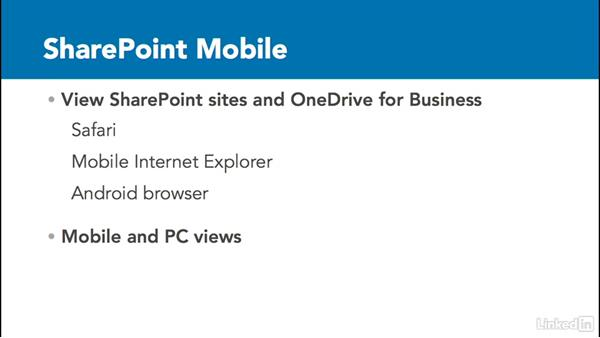 Mobile options for SharePoint: SharePoint 2016 Essential Training