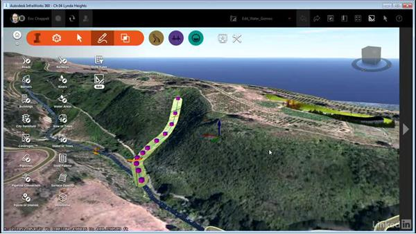 Editing water features with gizmos: InfraWorks 360 Essential Training