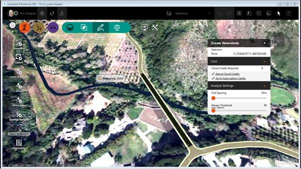 Performing a watershed analysis: InfraWorks 360 Essential Training