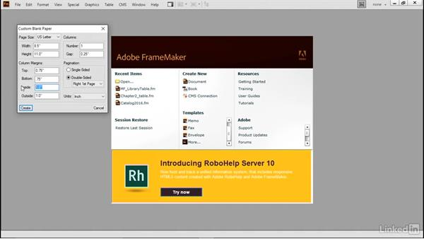 Create a custom document: FrameMaker 2015 Essential Training