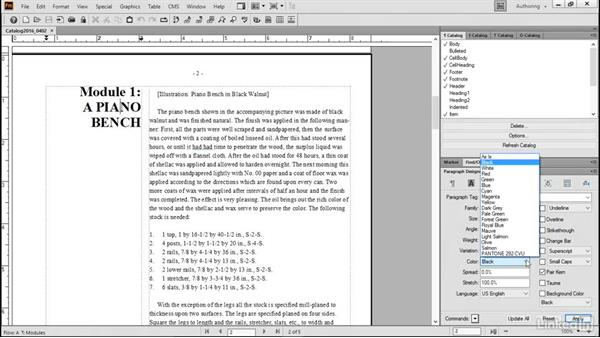 Use color in paragraph formats: FrameMaker 2015 Essential Training