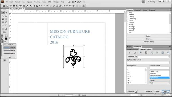 Modify graphic properties: FrameMaker 2015 Essential Training