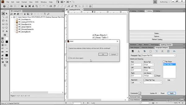 Change pagination for a TOC: FrameMaker 2015 Essential Training