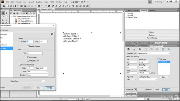 Modify the layout of a TOC: FrameMaker 2015 Essential Training