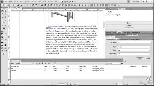 Apply condition tags to text: FrameMaker 2015 Essential Training
