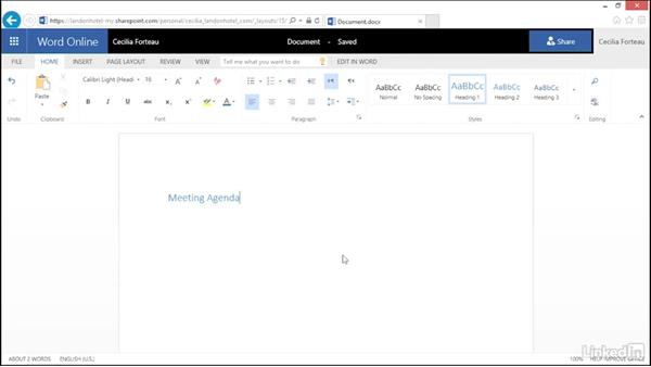 Create a Microsoft Office document online: OneDrive for Business Essential Training
