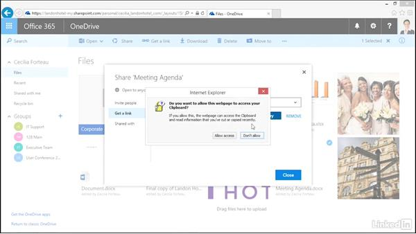 Share files with a link: OneDrive for Business Essential Training