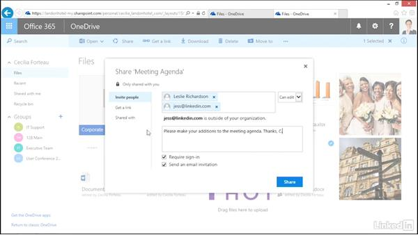 Share files with people in your organization: OneDrive for Business Essential Training