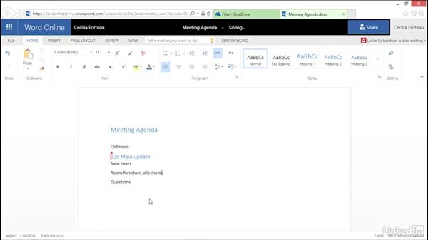 Work on a file simultaneously with a coworker: OneDrive for Business Essential Training