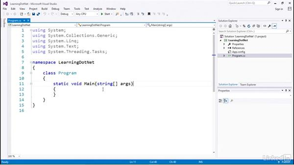 Creating a local application: C# with .NET Programming