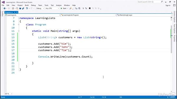 Lists for indexed values: C# with .NET Programming