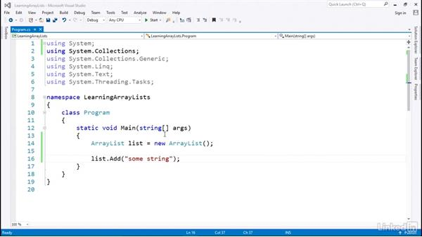 ArrayList for dynamic-sized collections: C# with .NET Programming