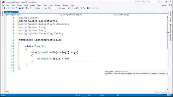 Hashtable for key-value pairs with a HashKey: C# with .NET Programming
