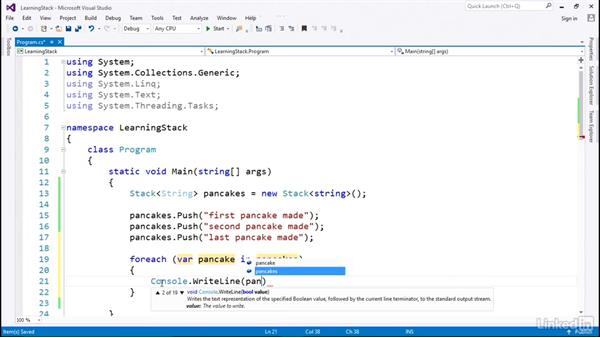 Stack for last in, first out: C# with .NET Programming