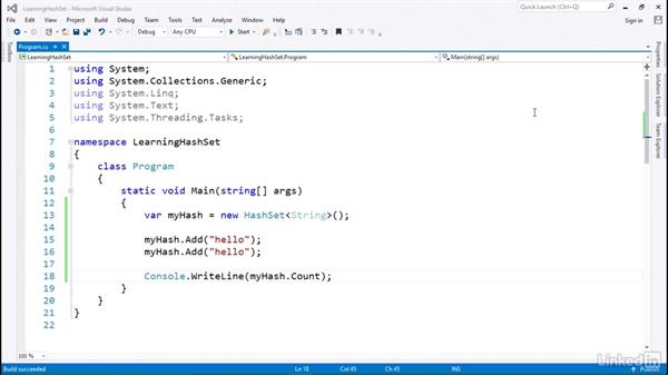 HashSets for objects with a HashKey: C# with .NET Programming